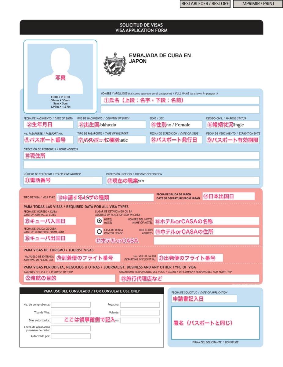 Cuba touristcard 18 申請書類記入方法ガイド