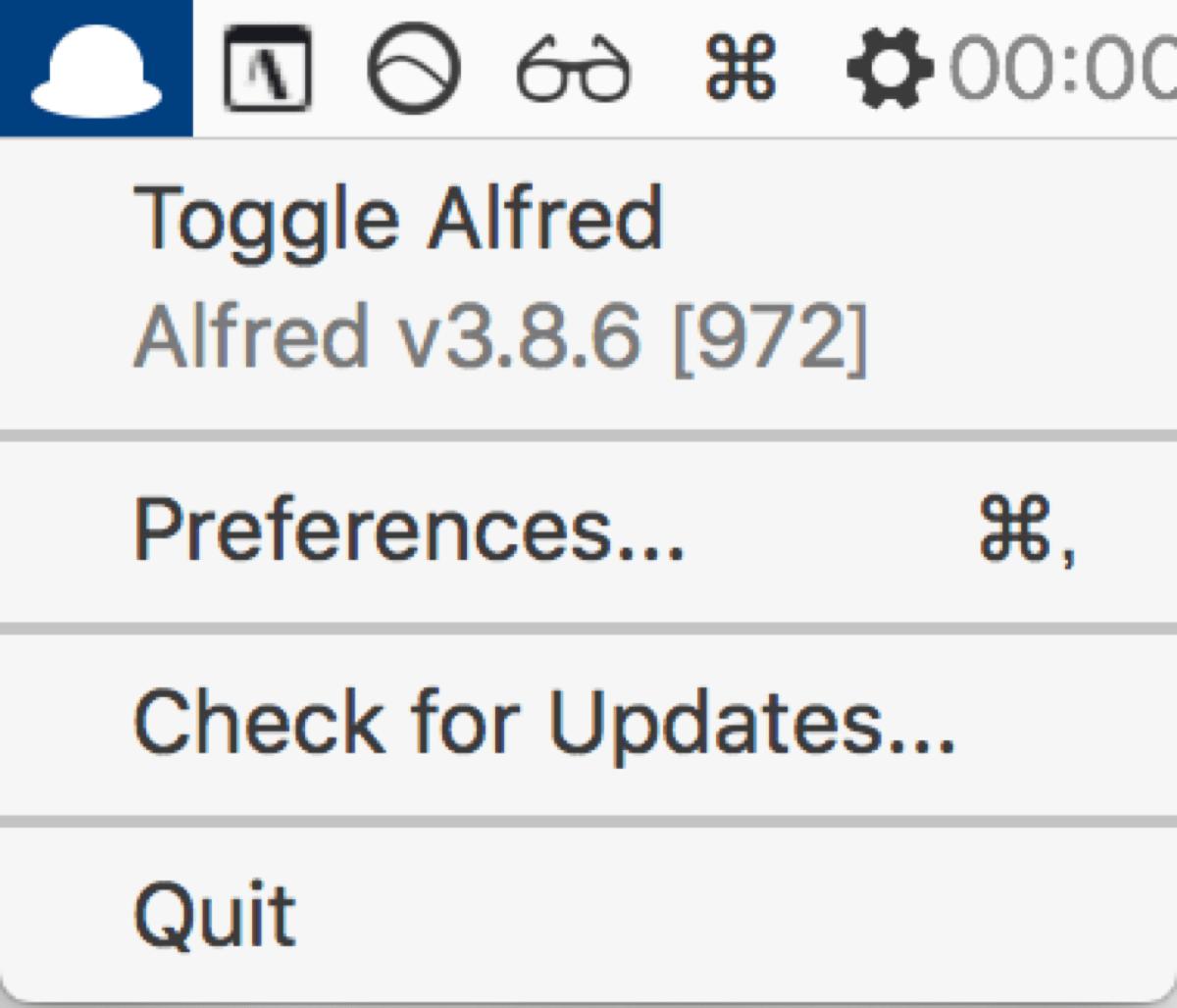 Mac apps 4Alfredバー